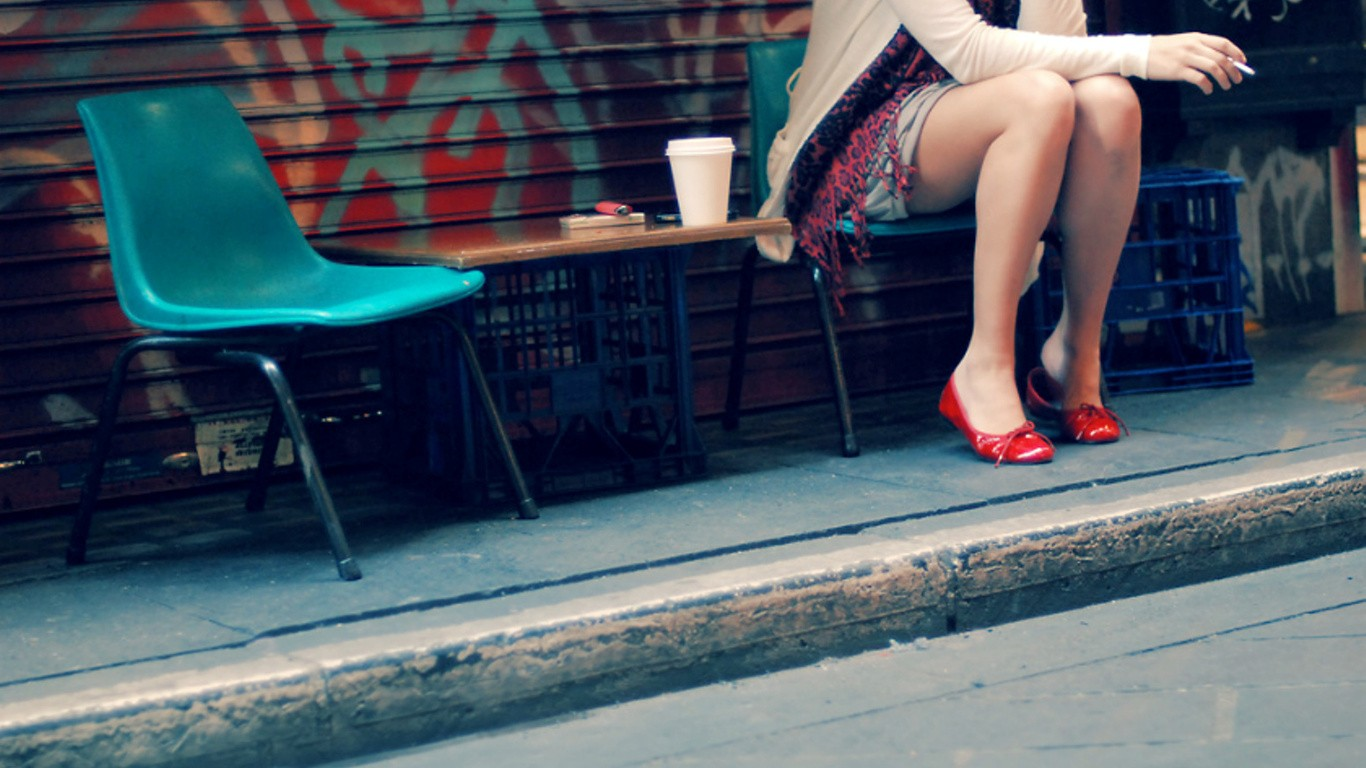 Legs Women Wallpaper 1366x768 Legs Women Cups Shoes Chairs Street 1366x768