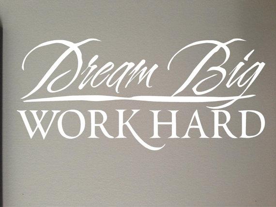 Dream Big   Work Hard Sticker Cute Wedding Vinyl Decal Car Window 570x428
