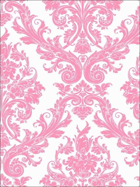 Pink White Damask Wallpaper   Traditional   Wallpaper   by Total 480x640