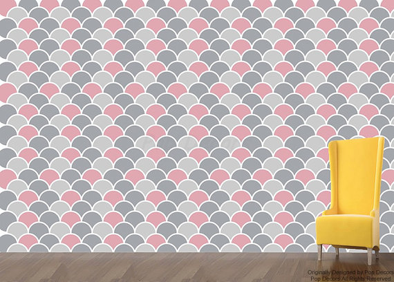 Fabric Removable Wallpaper   Round Allover  DIY Living Room Wall 570x408