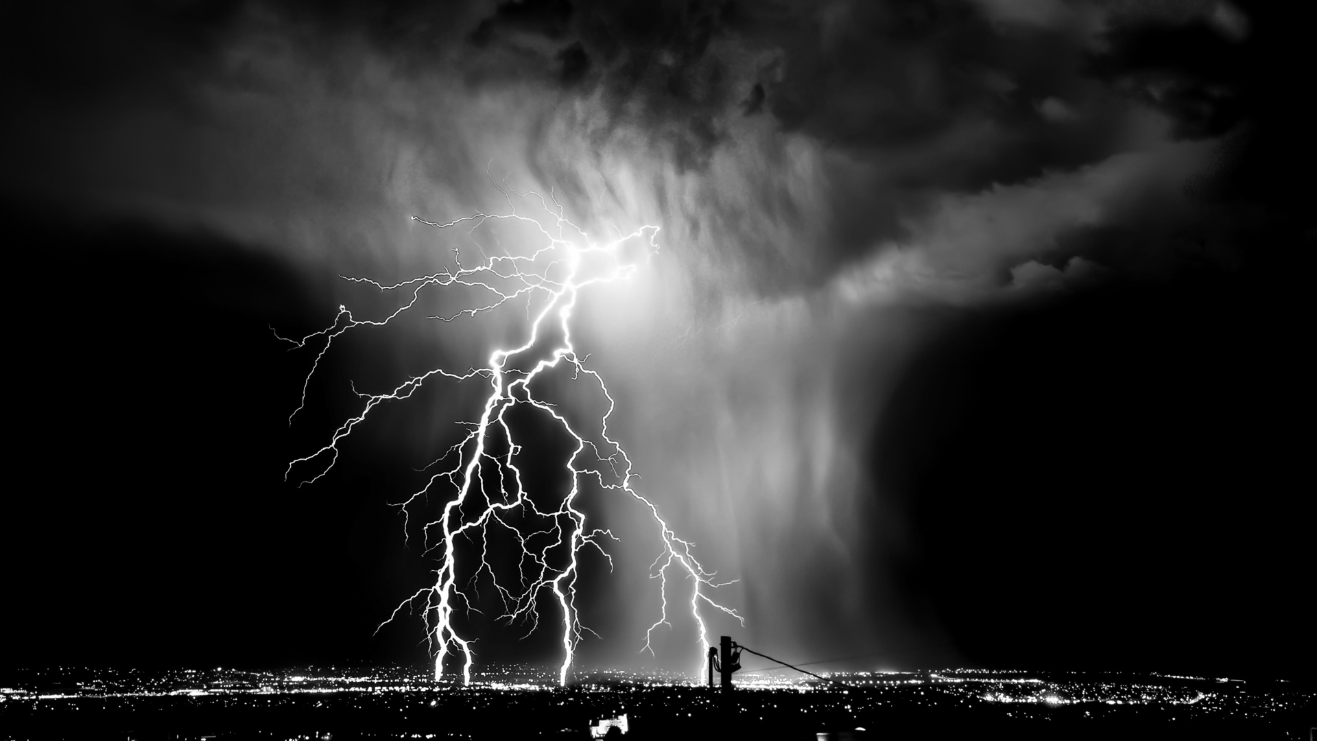 Lightning Black And White wallpaper   889318 1920x1080