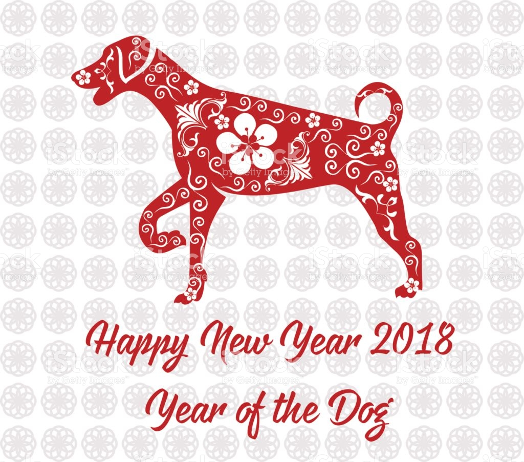 Happy Chinese New Year 2018 Card Year Of Dog stock vector 1024x902