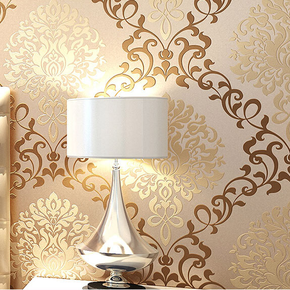 Modern gold damask wallpaper roll for 2014 hot sales designs for decor 574x574