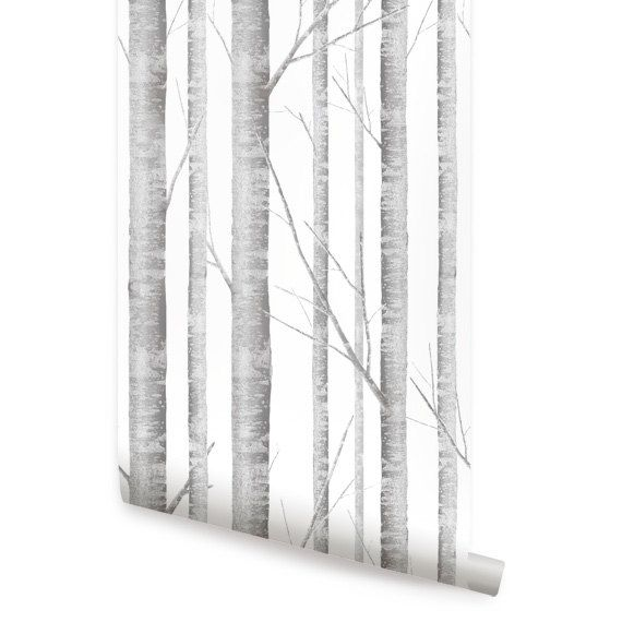 Birch Tree Peel Stick Fabric Wallpaper by AccentuWall on Etsy 4000 570x570