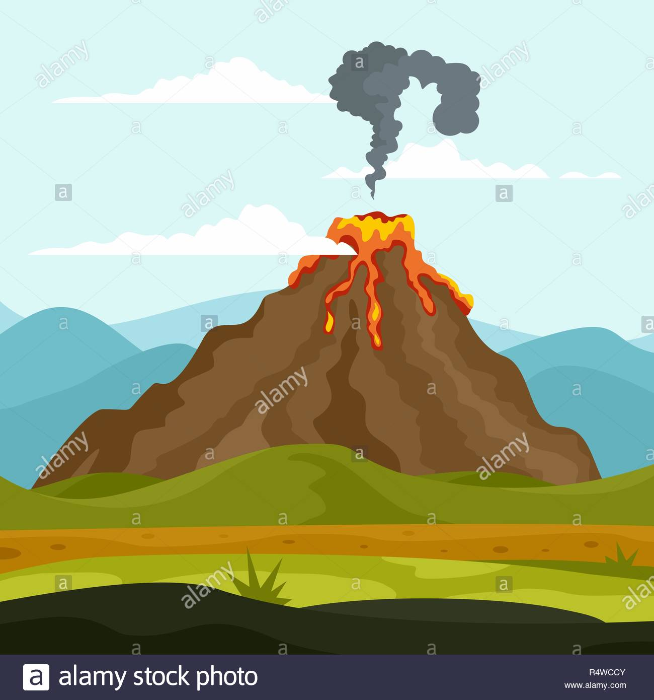 Eruption of volcano background Flat illustration of eruption of 1300x1390