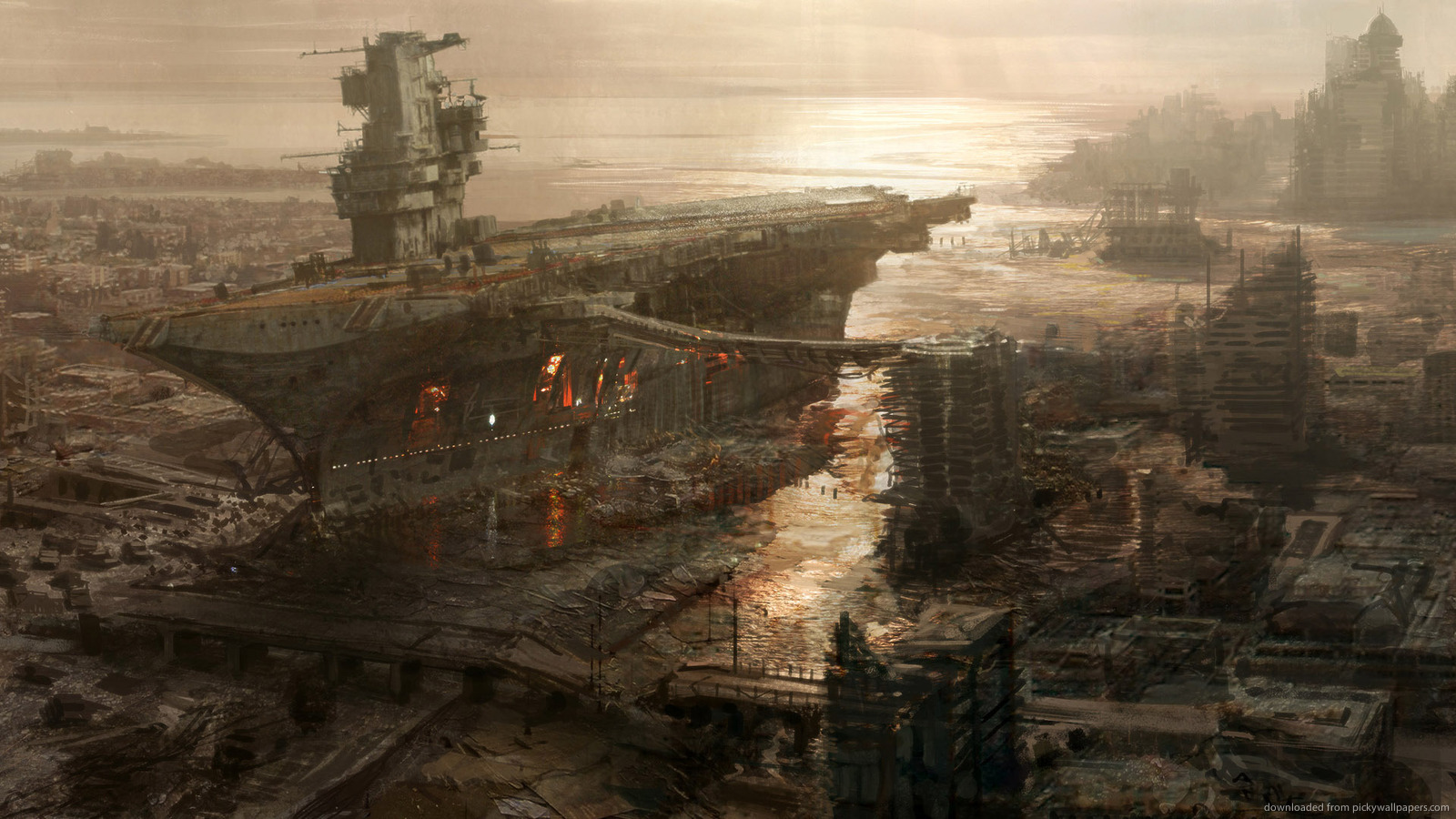 Download 1600x900 Fallout 3 Rivet City Concept Art Wallpaper 1600x900