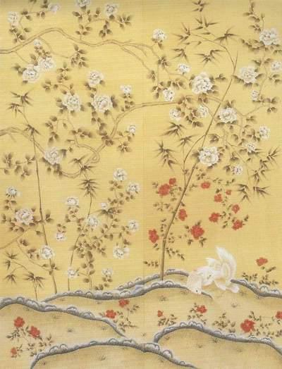 China Hand Painted Silk Wallpaper Wallcoverings   China Silk Wallpaper 400x524