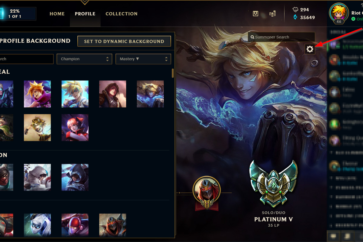 Youll be able to choose what champion is your profile background 1200x800