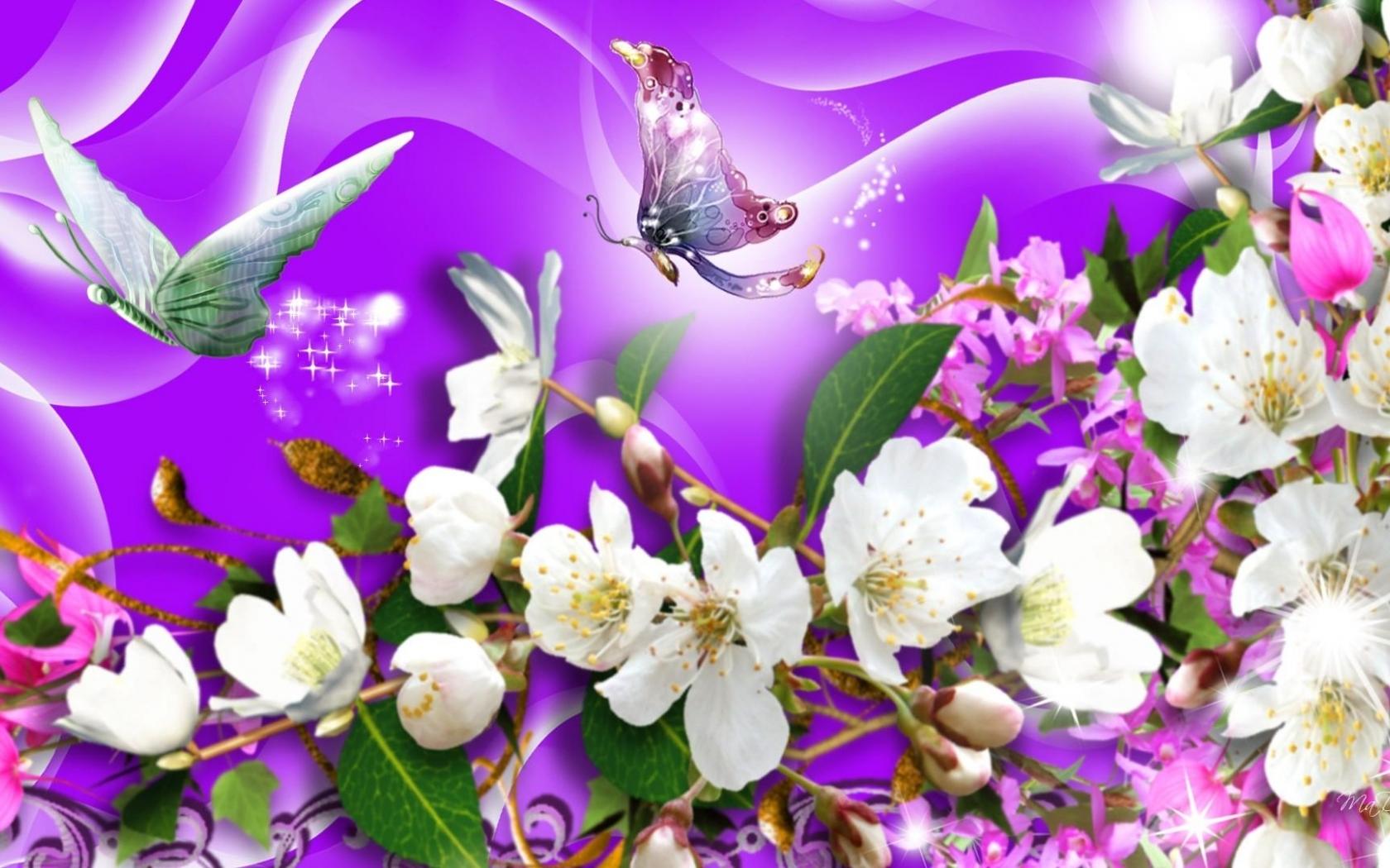 Бабочки подлетающие к цветкам  № 2991714 загрузить