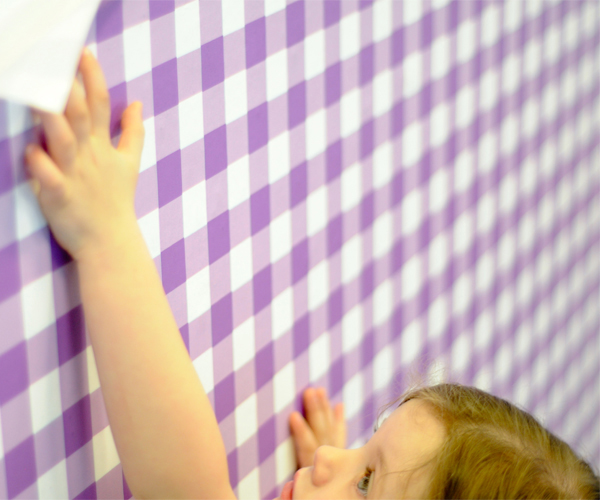 Giddy Gingham Removable Wallpaper in Very Purple by Pop Lolli 600x500