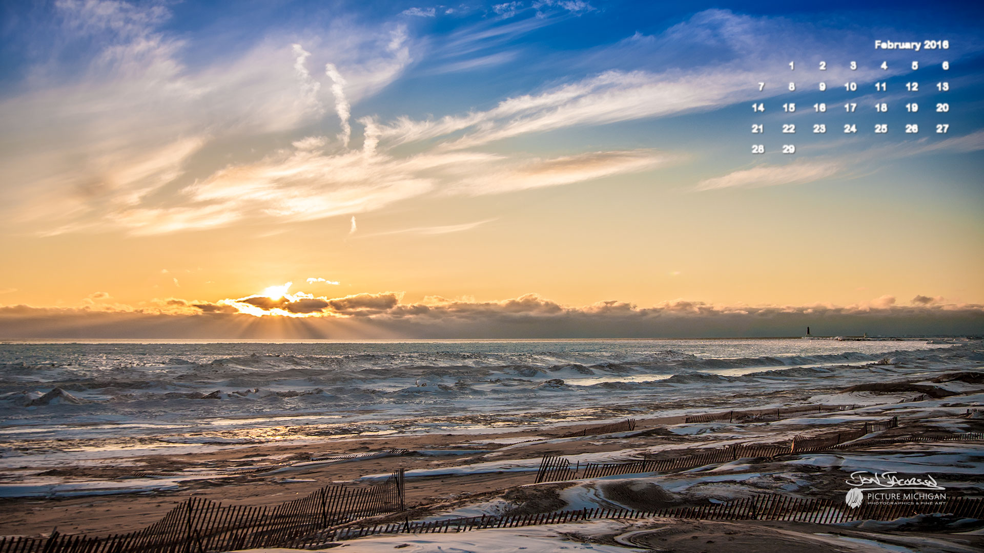 February 2016 Calendar Desktop Wallpaper Lake Michigan Sunset 1920x1080