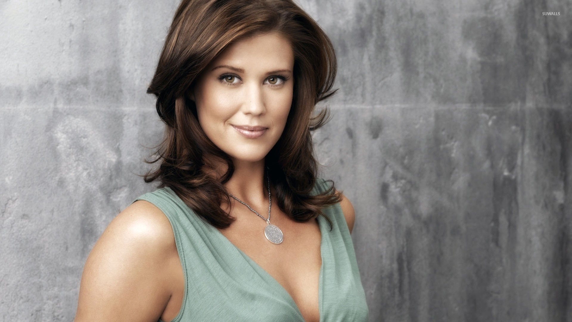 Sarah Lancaster smiling in a blue top wallpaper   Celebrity wallpapers 1680x1050
