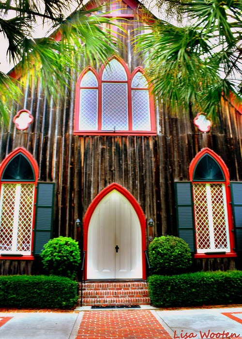 the photograph Church Of The Cross Bluffton Sc Entrance by Lisa Wooten 500x700
