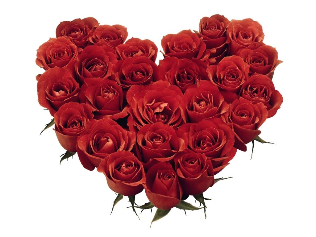 1024x768 Red Roses Heart desktop PC and Mac wallpaper 1024x768