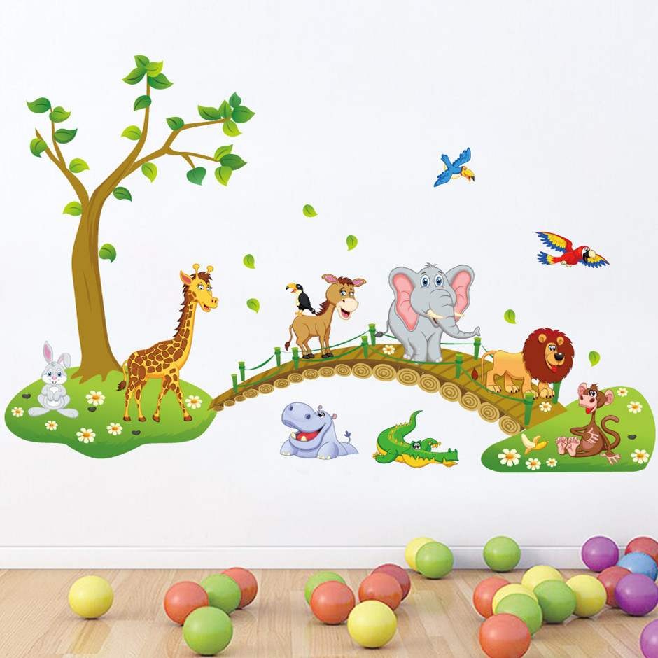 Cute forest animals crossing bridge cartoon wall stickers for kids 940x940