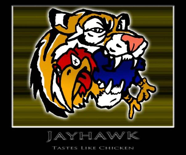 Missouri Tigers Eating A Jayhawk by kellyjgoines 604x503