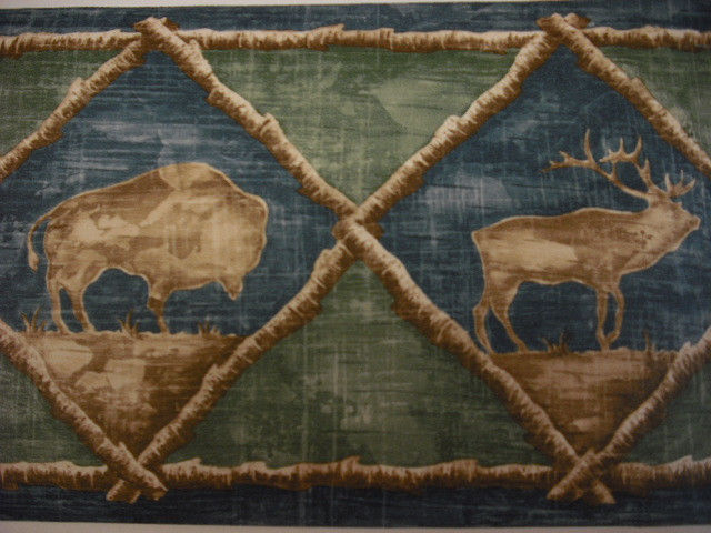 Cabin Moose Elk Wildlife Rustic Wallpaper Border eBay 640x480