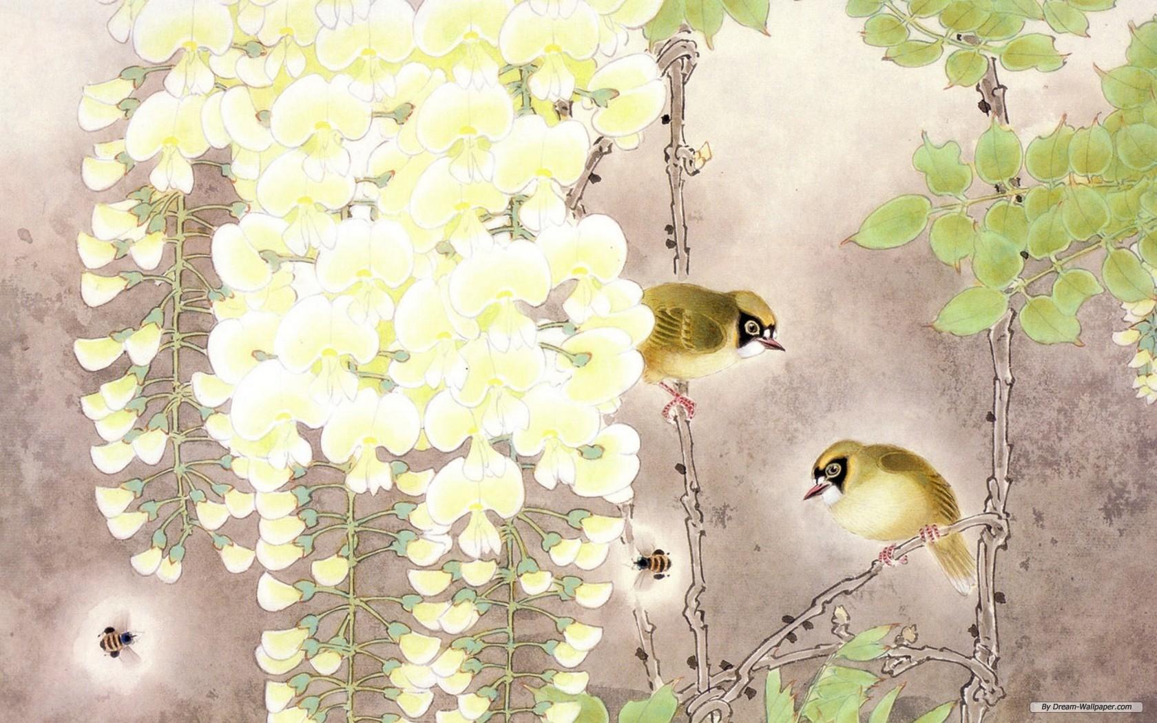 free bird and flower wallpaper wallpapersafari