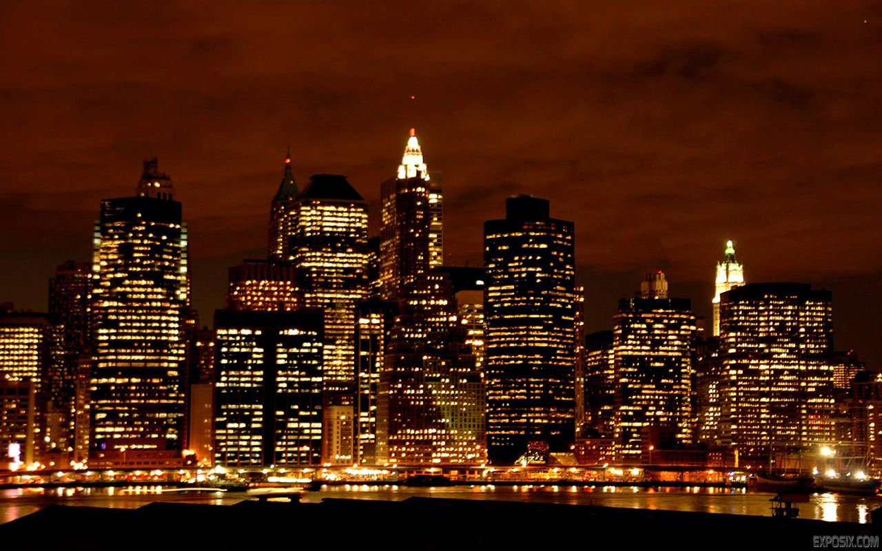 New York City Skyline At Night Wallpaper Thumb 1280x800