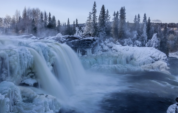 Wallpaper waterfall winter snow ice wallpapers nature   download 596x380