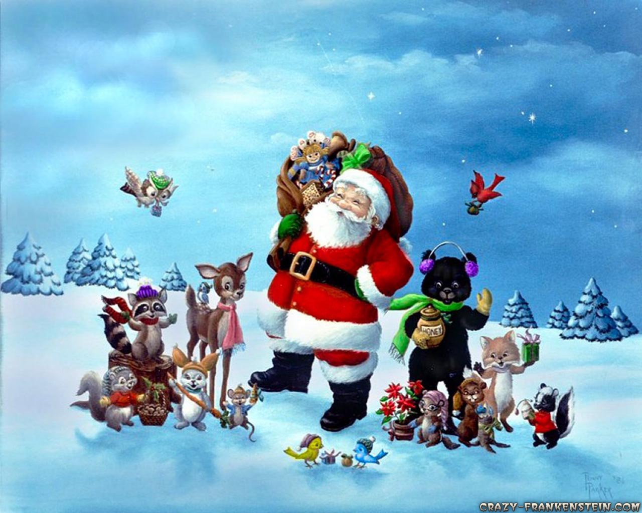 Crazy Frankenstein   Christmas Santa Claus wallpapers page 2 1280x1024