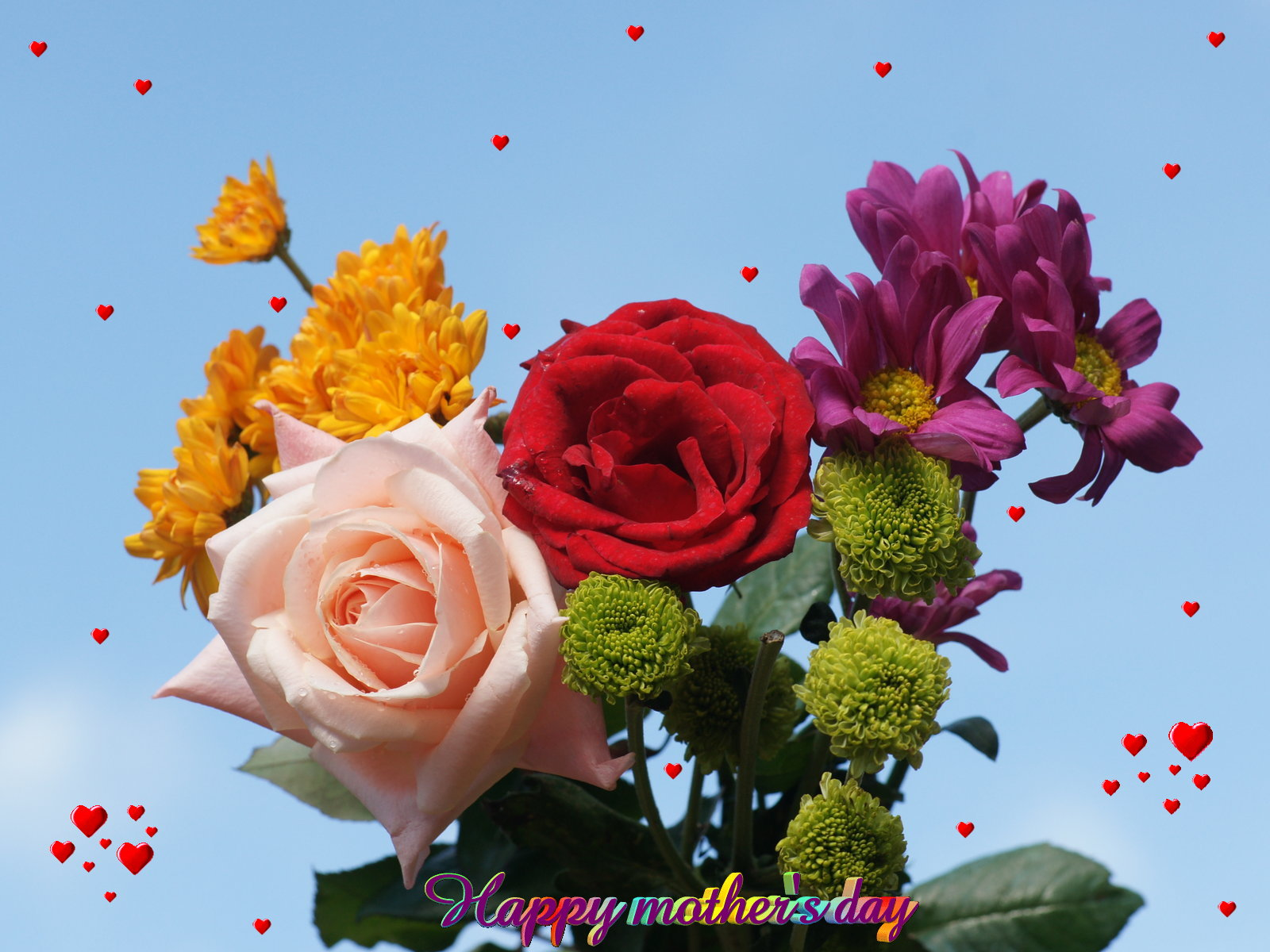 beautiful flowers hearts of love mother s day wallpapers 1600x1200