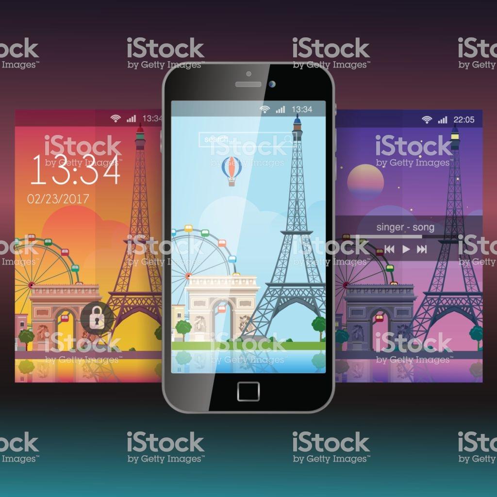 Mobile Wallpaper Modern Paris City Eiffel Tower Flat Style App 1024x1024