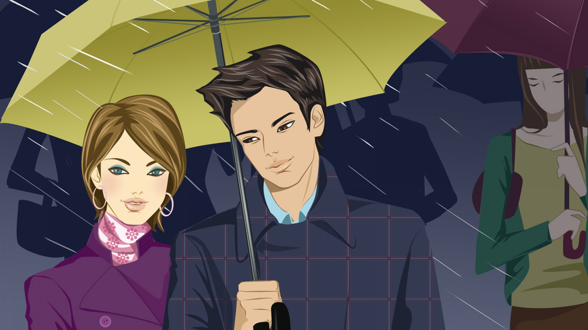 Wallpaper Young Couple Heavy Rain Together Shadow Drawn   Love 1920x1080