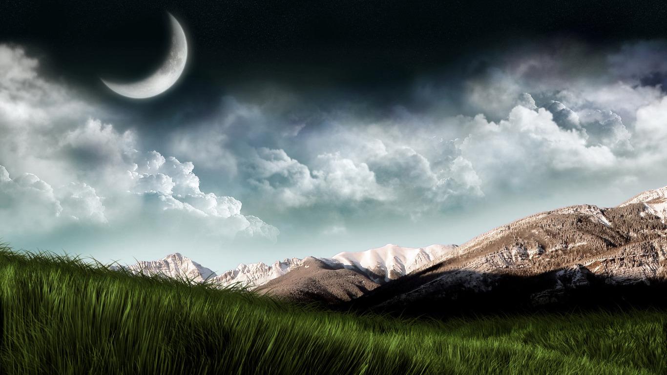 Mountains at night wallpaper 806 1366x768
