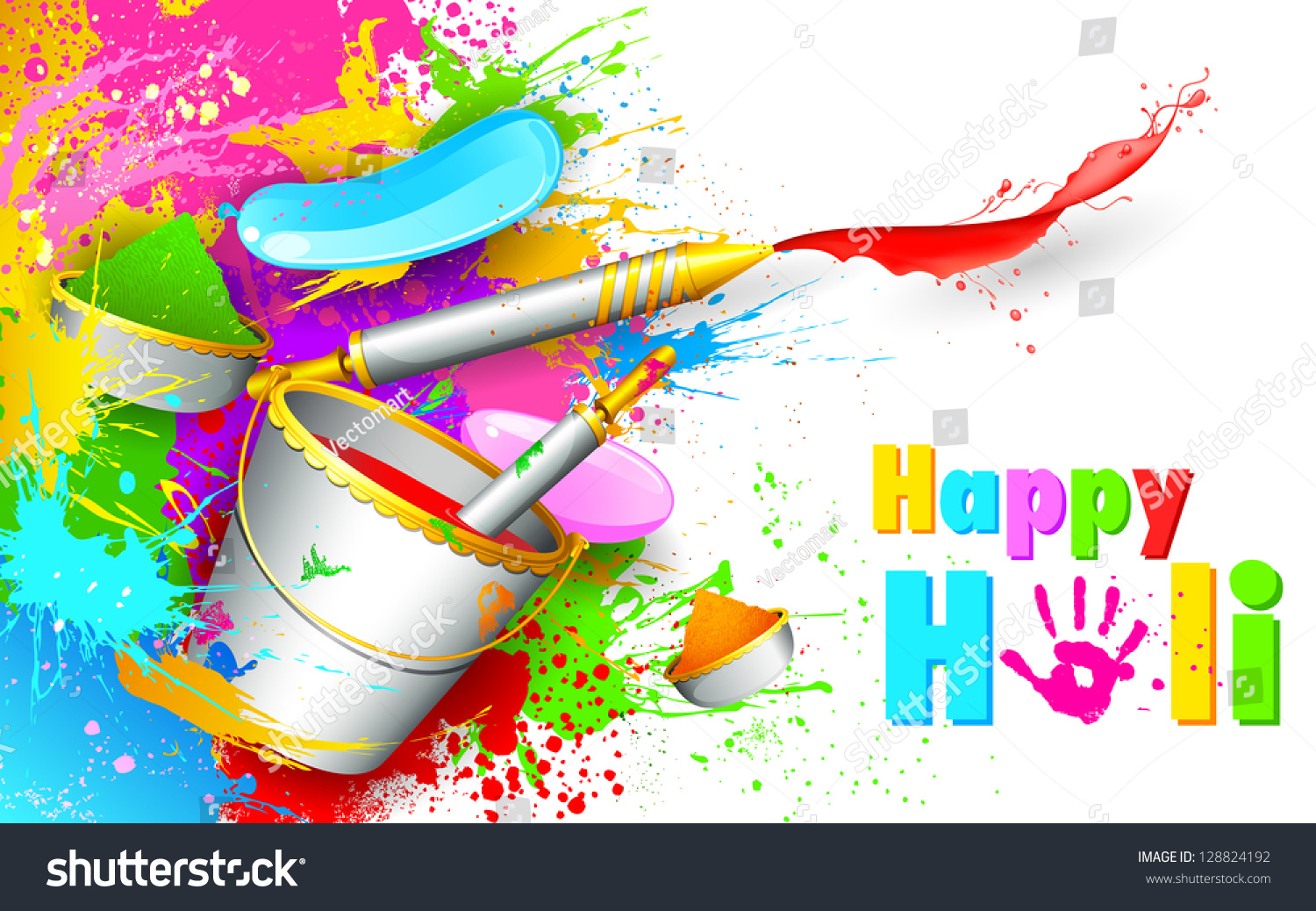 Illustration Colorful Spalsh Bucket Full Color Stock Vector 1500x1038