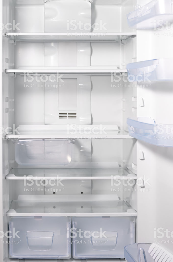 Empty Open Fridge With Shelves White Refrigerator Background Stock 678x1024