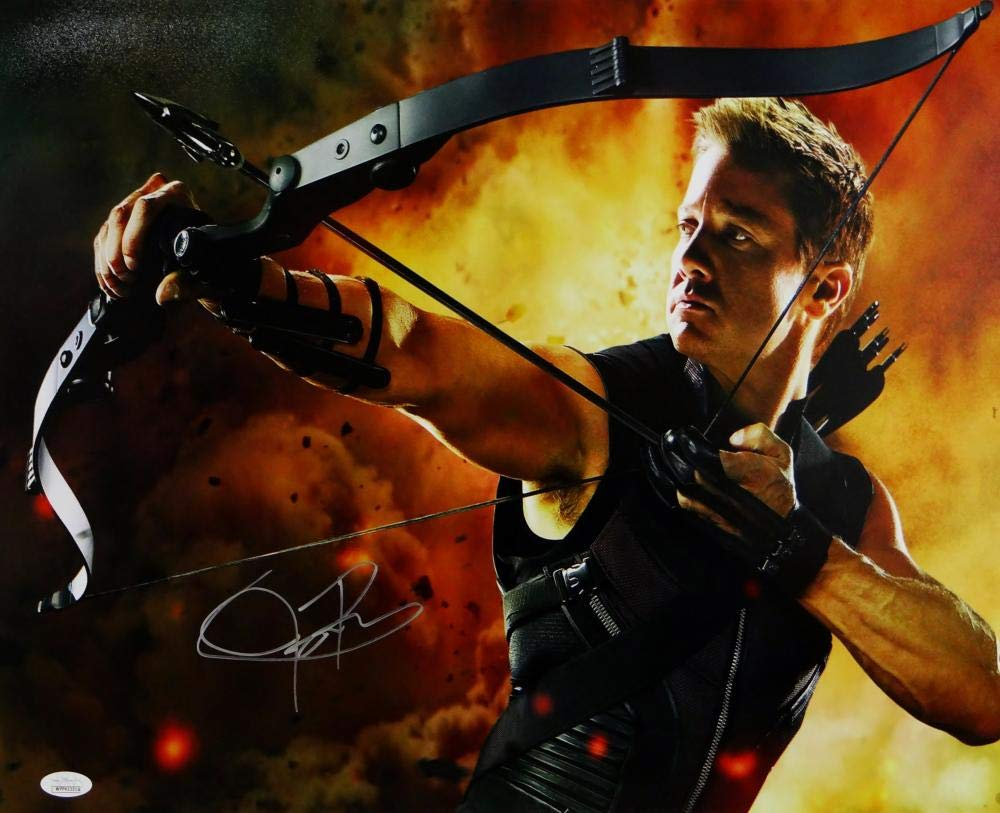 Jeremy Renner Autographed 16x20 Hawkeye Photo Fire Background  JSA 1000x813