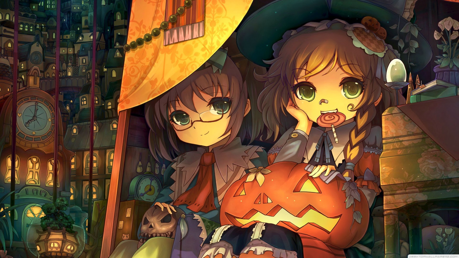 cute anime girls pumpkin lantern halloween wallpaper hd 1920x1080 a160 .