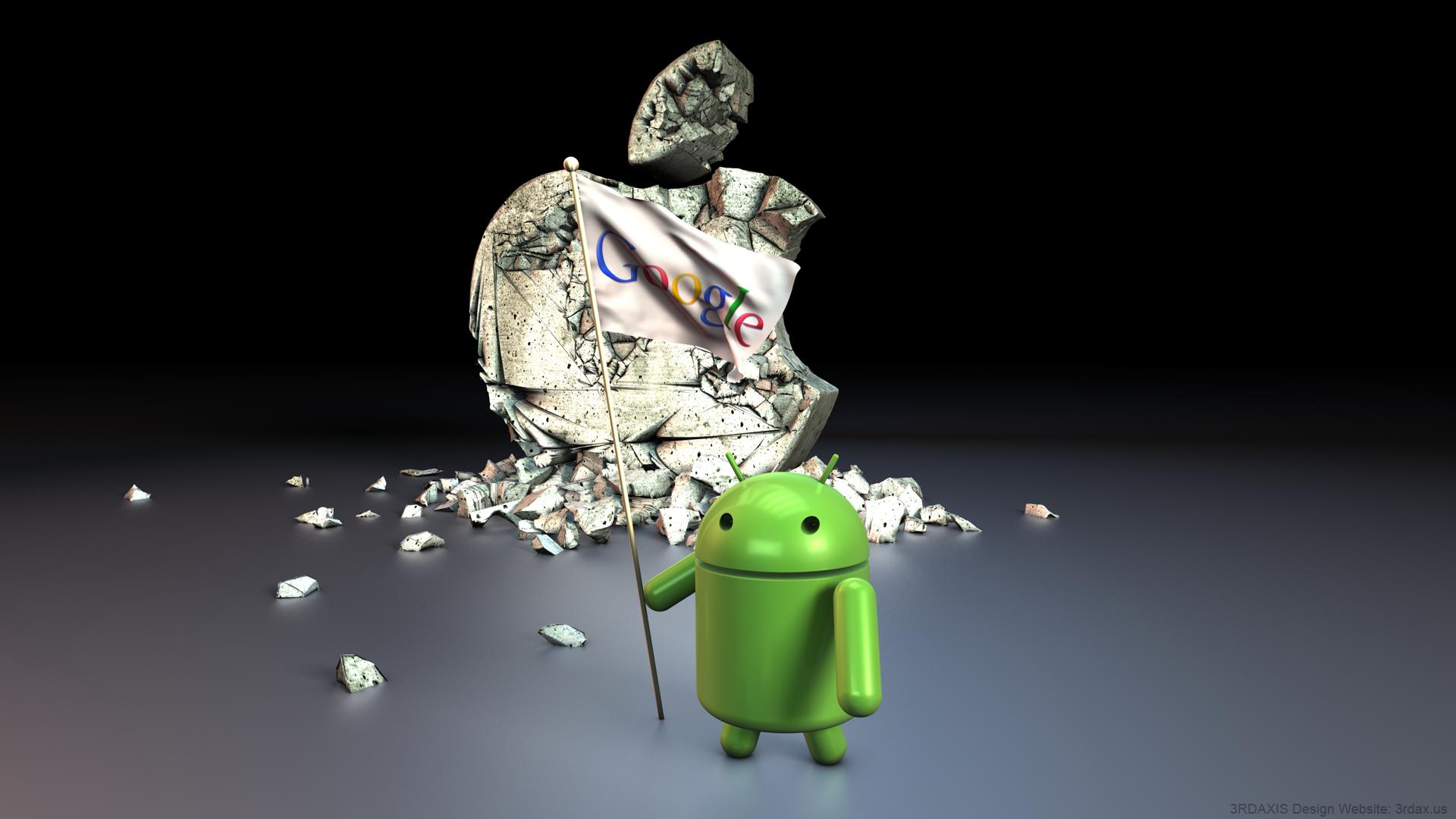 Muy buen Wallpaper de Android Vs Apple con resolucin Full HD para 1920x1080