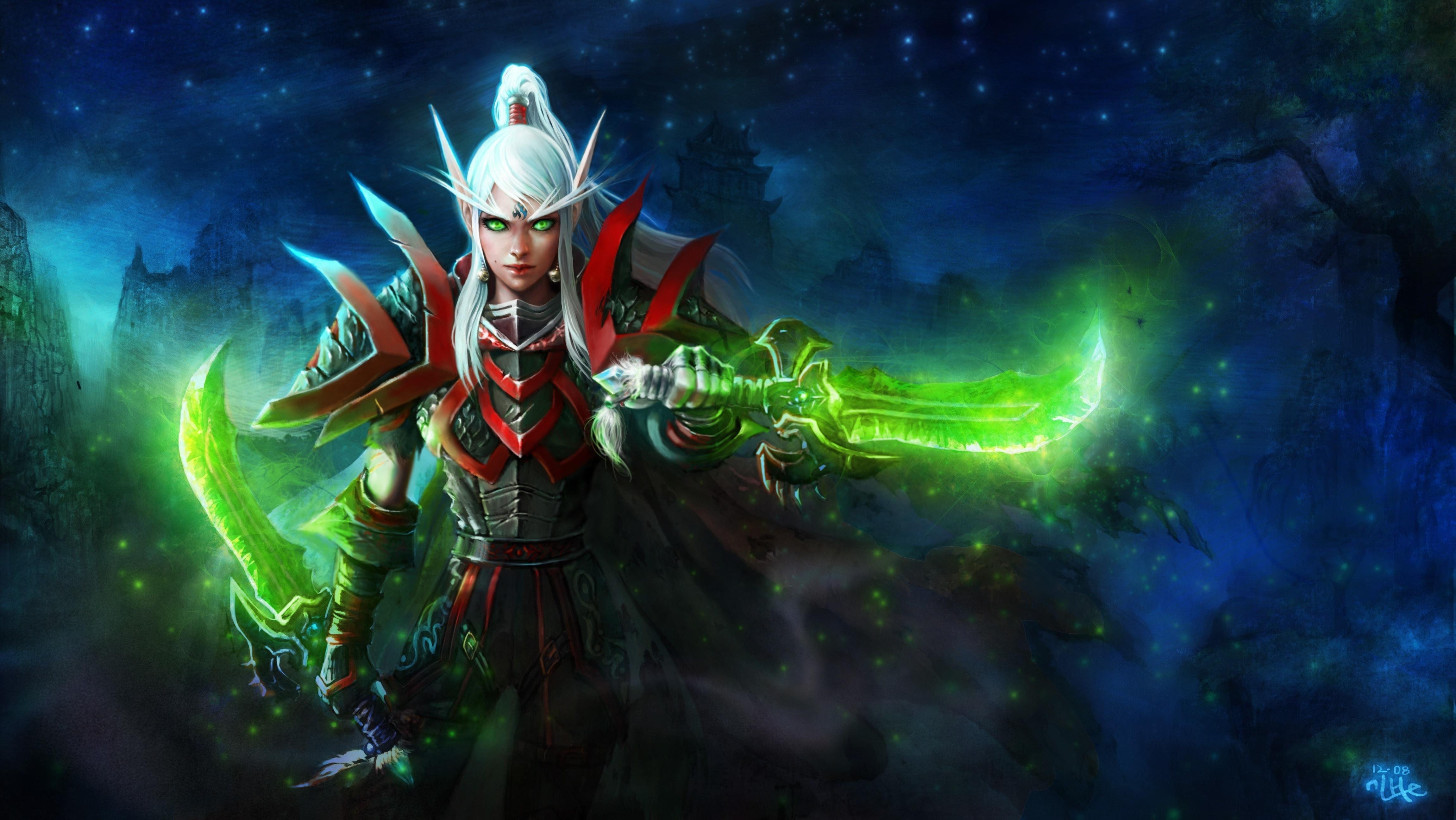 of WarCraft Warriors Elves Armor Games Fantasy Girls warrior wallpaper 4600x2591