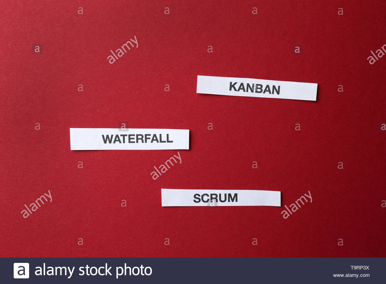 Words KANBAN WATERFALL SCRUM on color background Stock Photo 1300x956