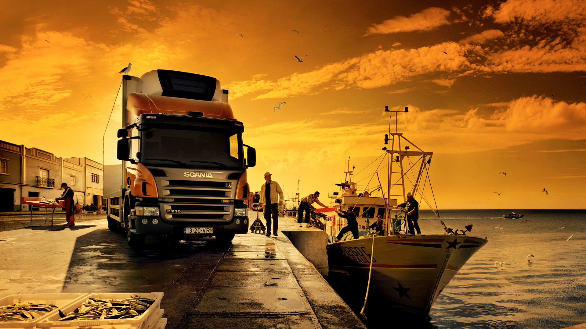 Awesome Orange Scania Truck Wallpaper PC Wallpaper with 1920x1080 1920x1080