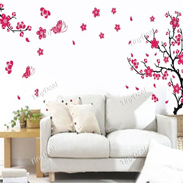 Removable Red Flowers Wall Stickers Wallpapers for Living Room HDS 600x600