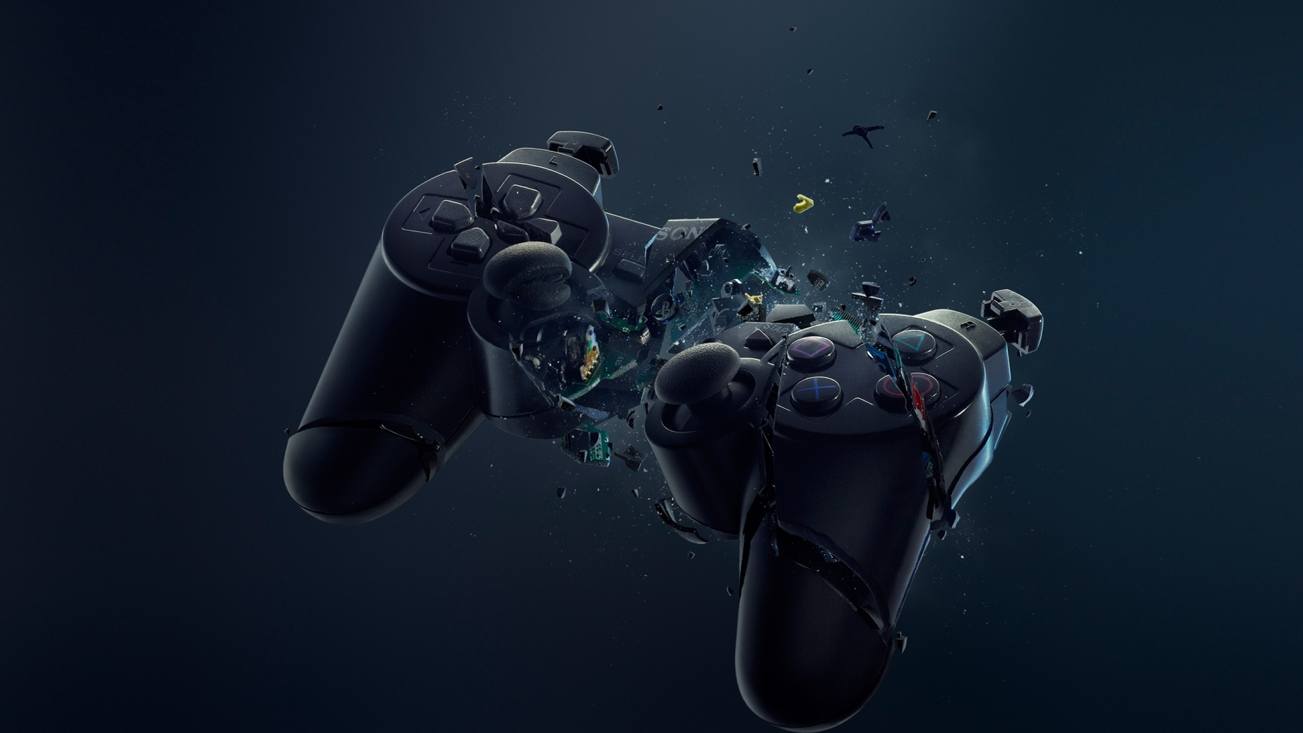Download Broken Playstation 3 Controller Wallpaper for 2560 x 1440 2560x1440