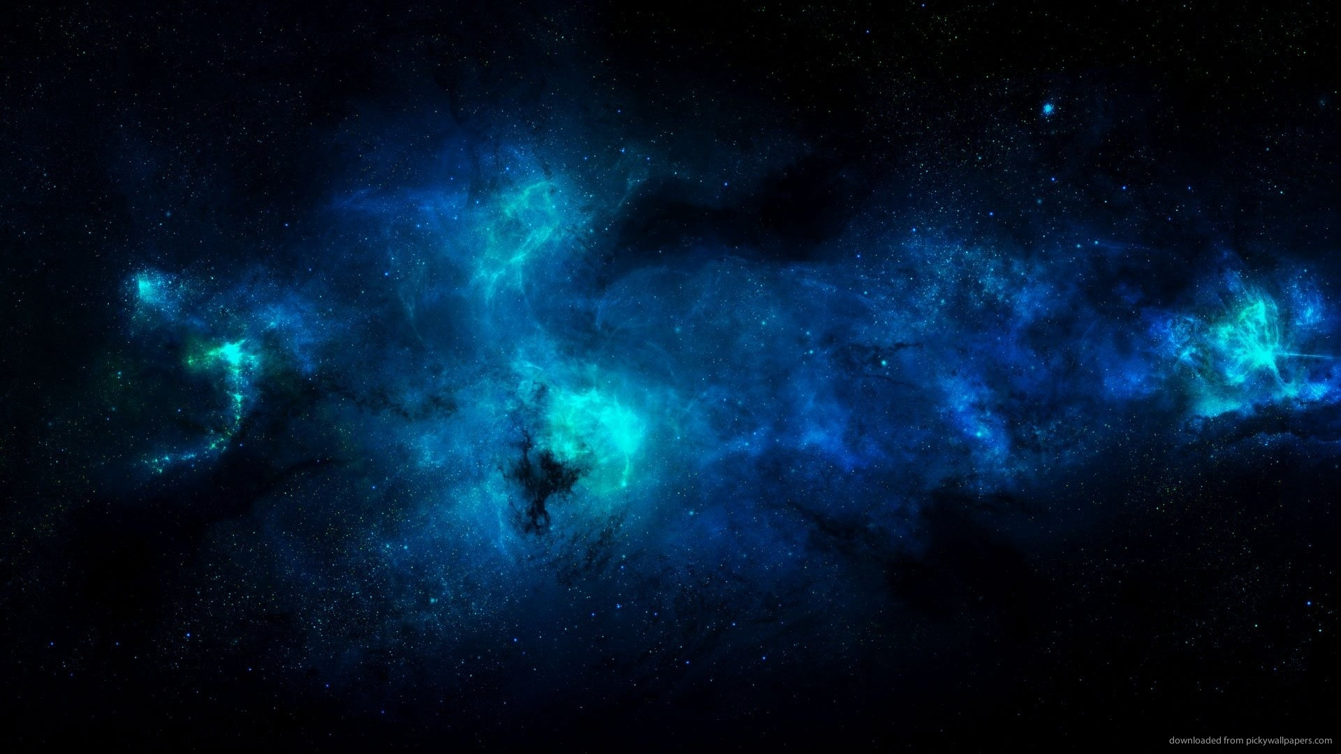 WallpaperUniversitycom Bright Neon Blue Gasses Floating in Space 1920x1080