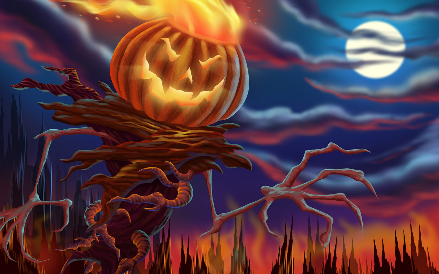 Scary Halloween 2012 HD Wallpapers Pumpkins Witches Spider Web 1440x900