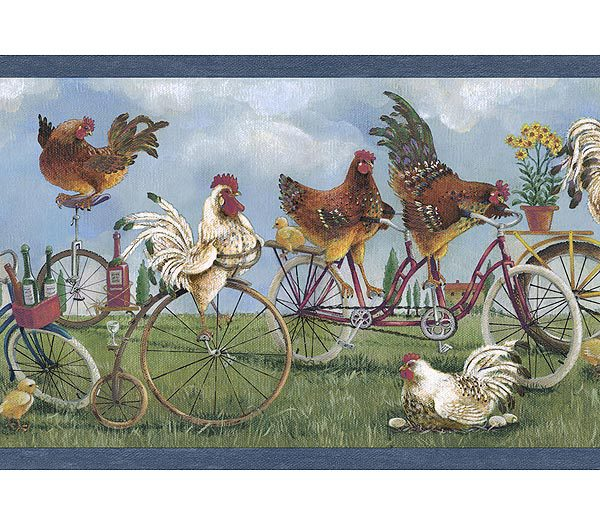 Blue Rooster Wallpaper Border   Kitchen Bathroom Wallpaper 600x525