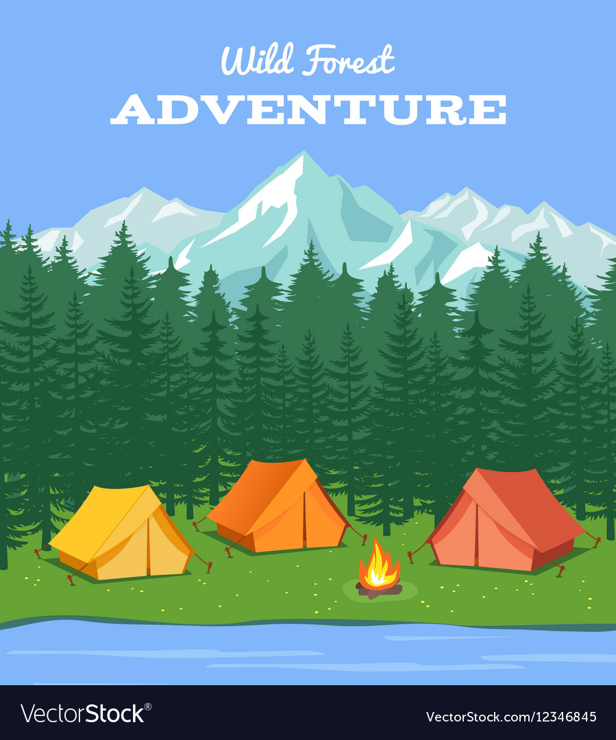 Outdoor camping nature background with river and Vector Image 899x1080