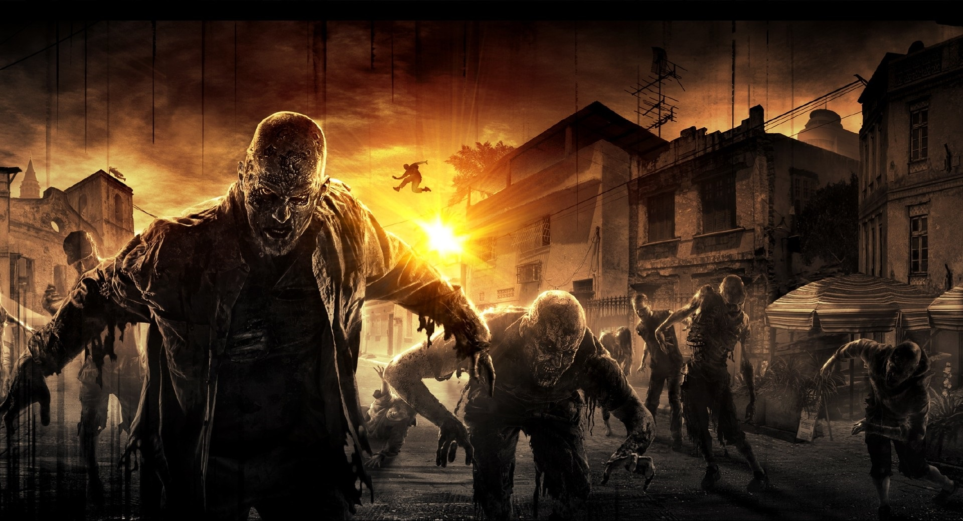Download 1920x1080 HD Wallpaper Dying Light Zombie Sunset Ruin Fury 1920x1040
