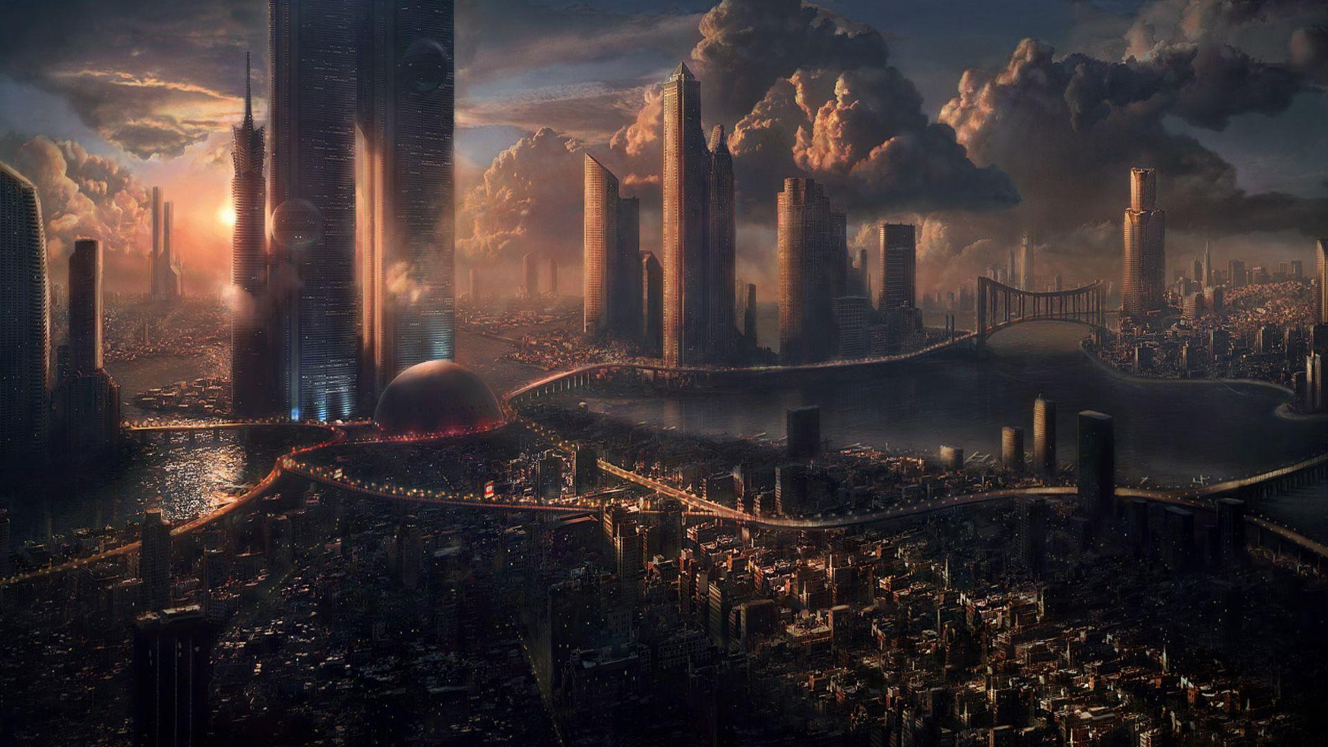 Sci Fi   City Towers Sci Fi Sunset Wallpaper 1920x1080