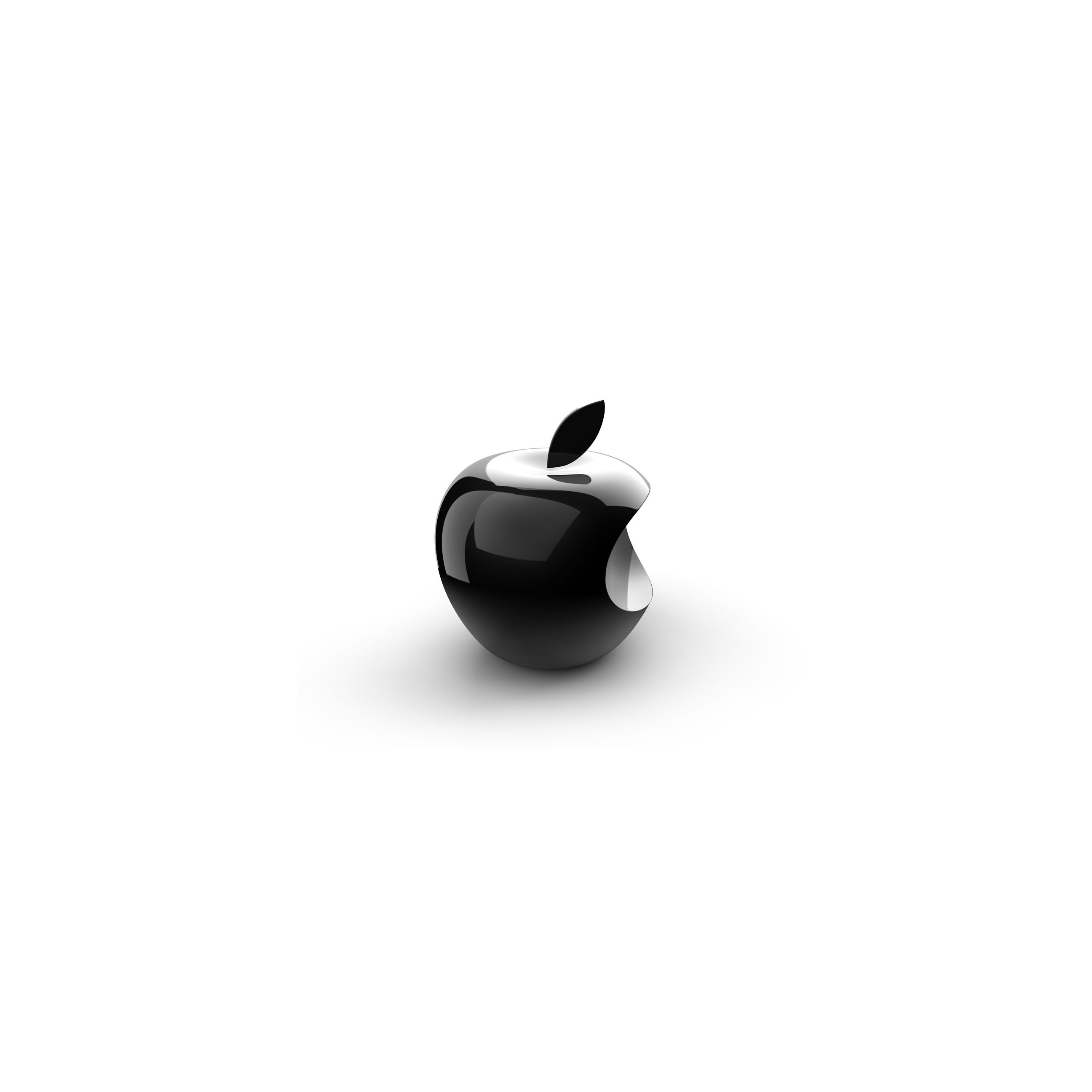 Apple logo 3D black and white wallpapersc iPhone6Plus 2592x2592