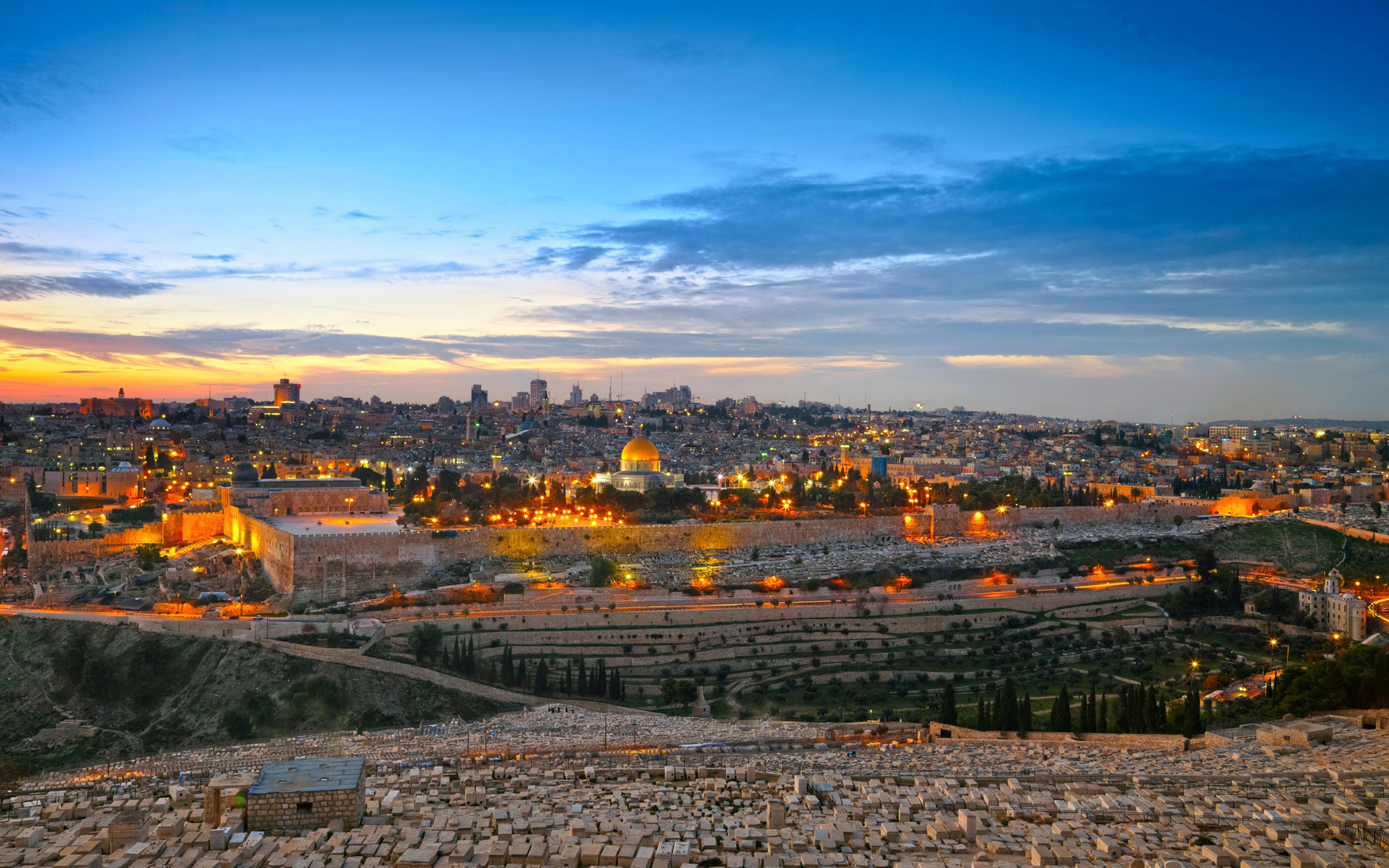 Wallpapers Israel Jerusalem HDRI Sky night time Cities 3840x2400 3840x2400