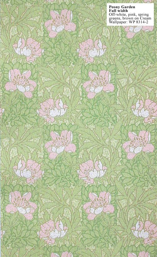 Craftsman reproduction wallpaper Peony Garden Design c 1912 210 500x819