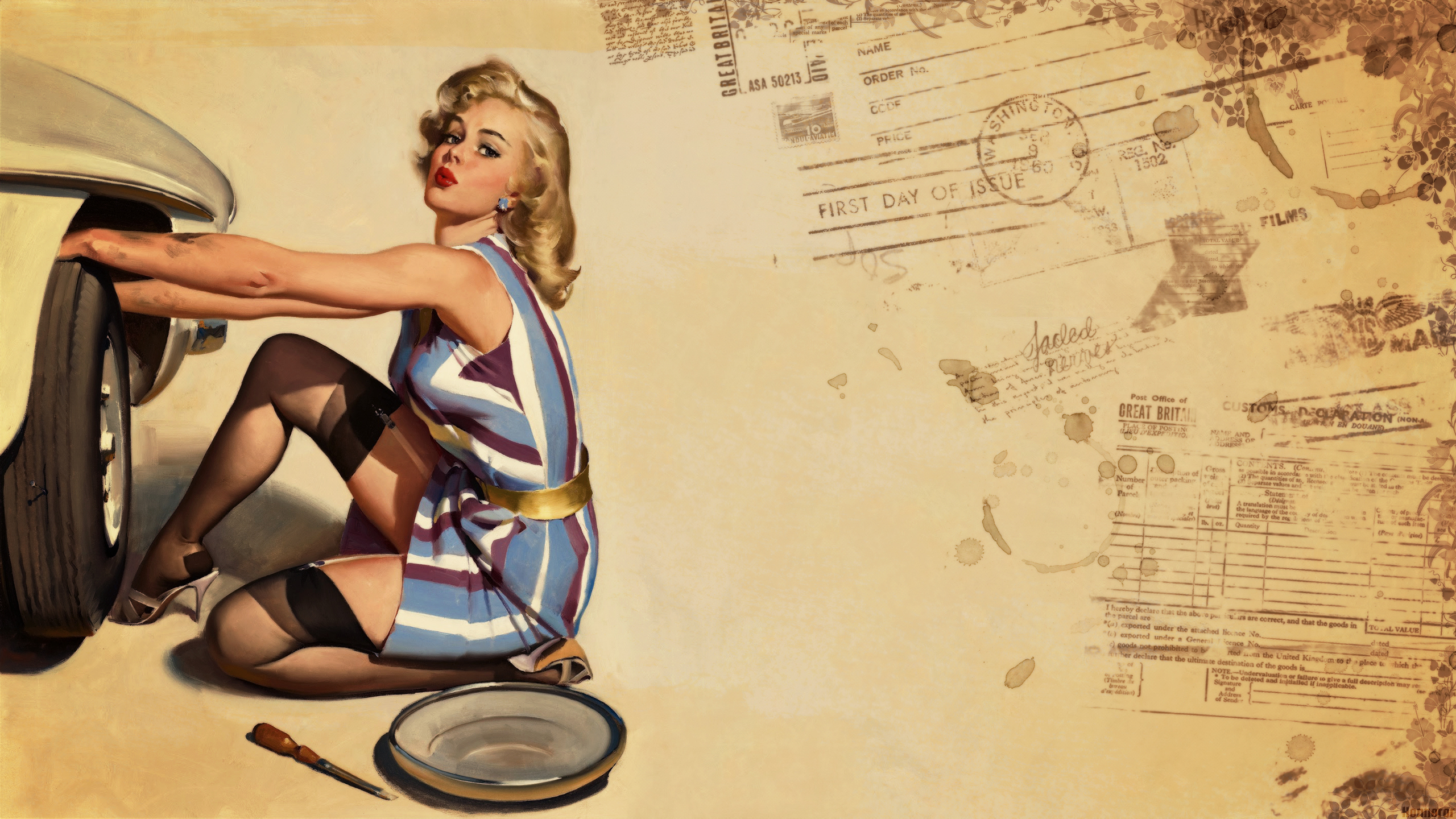 Pin up Wallpaper Style Retro Girls Honnoror Wallpapers 2560x1440