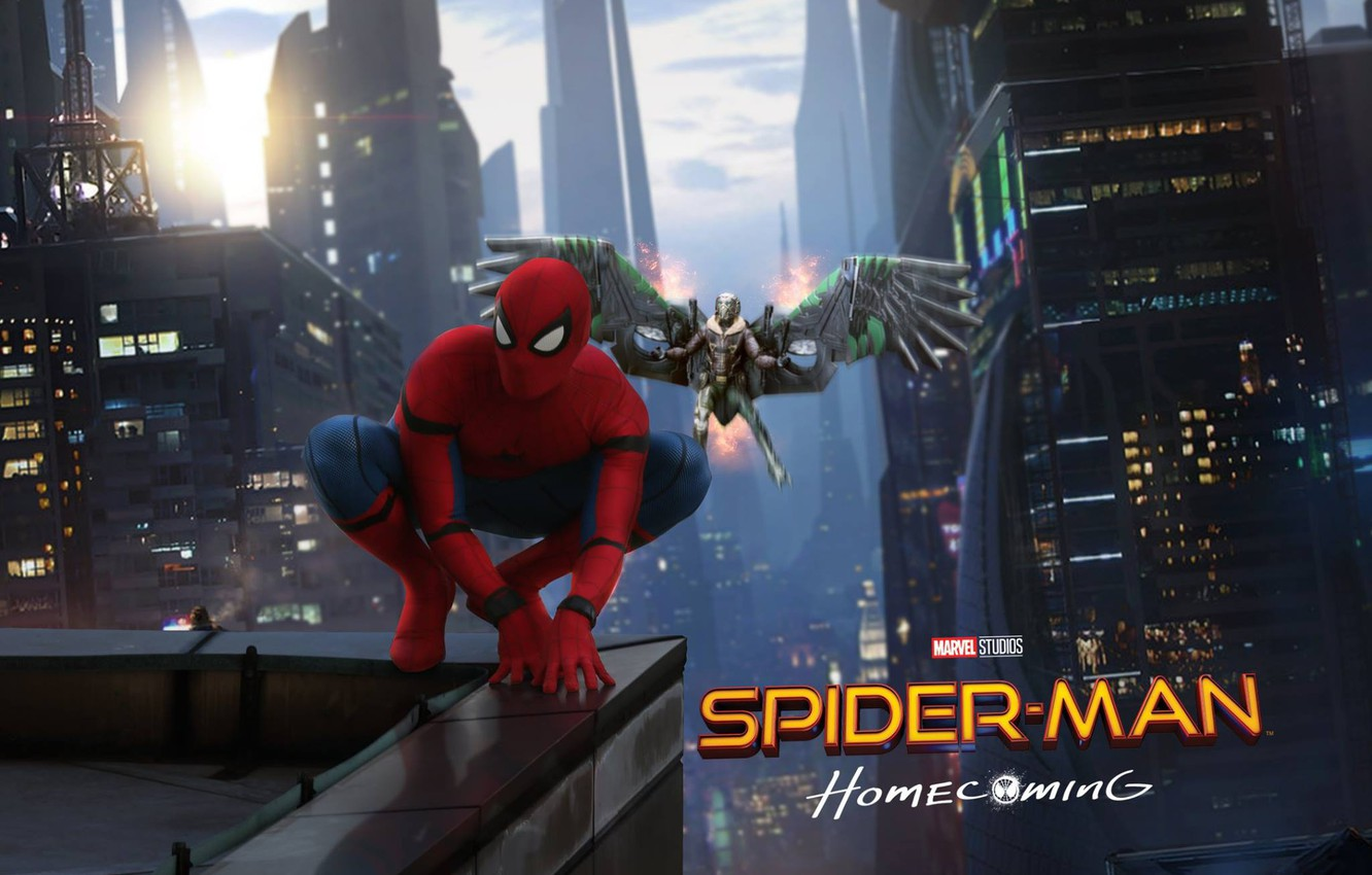 Wallpaper new york spider man peter parker vulture tom holland 1332x850